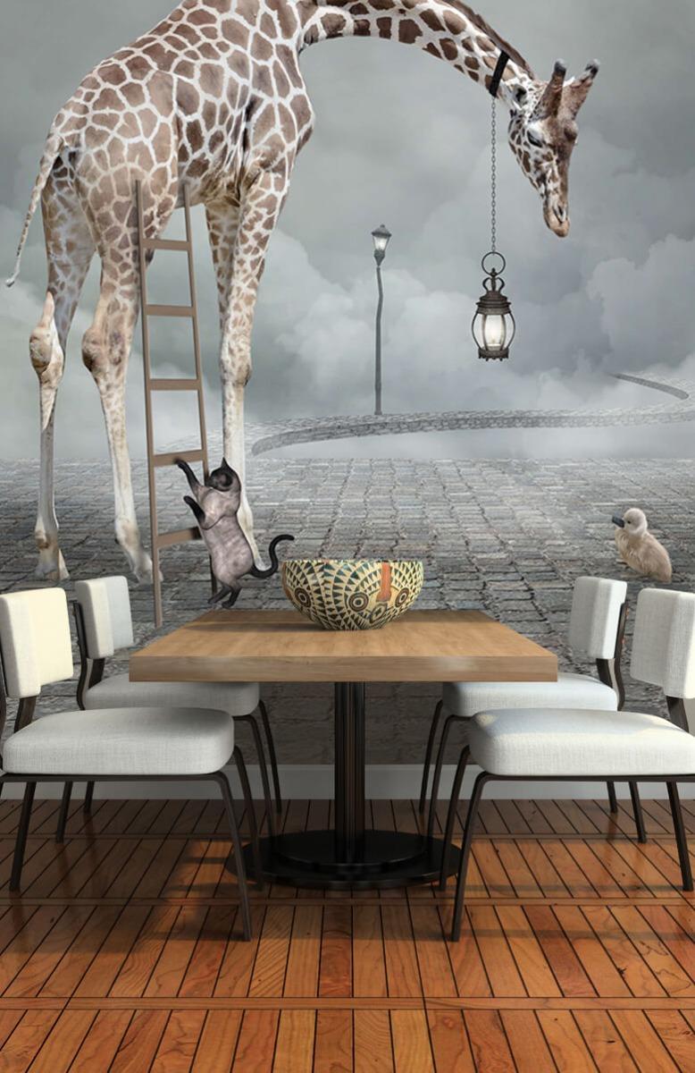 3D Fantasie landschap met dieren 5