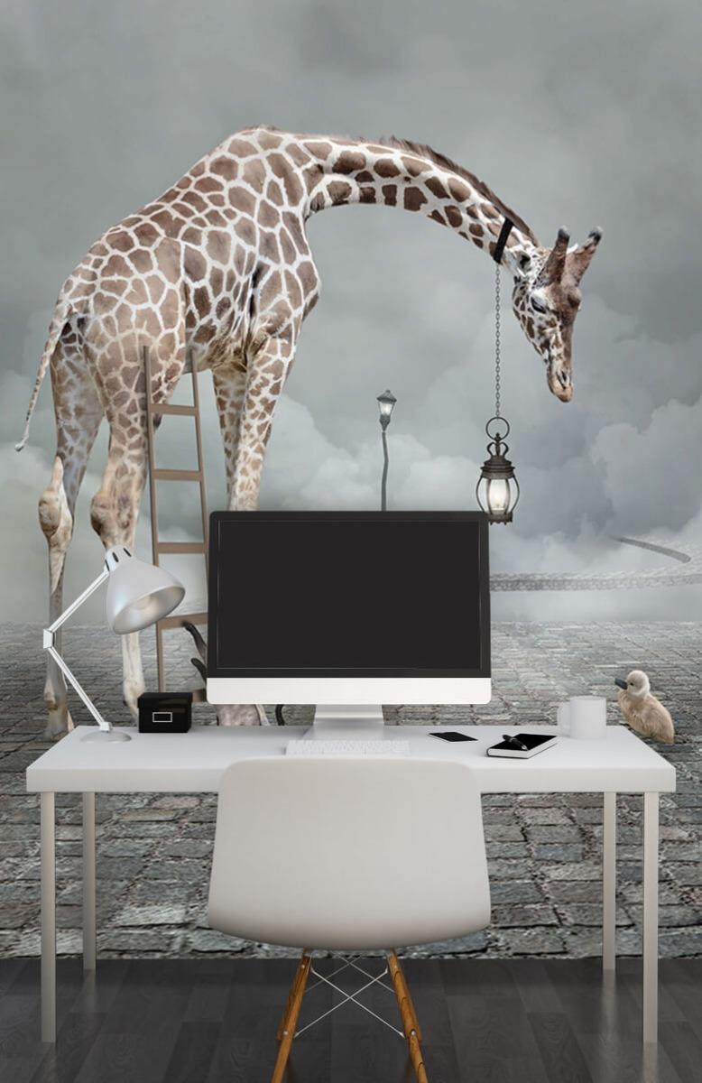 3D Fantasie landschap met dieren 10