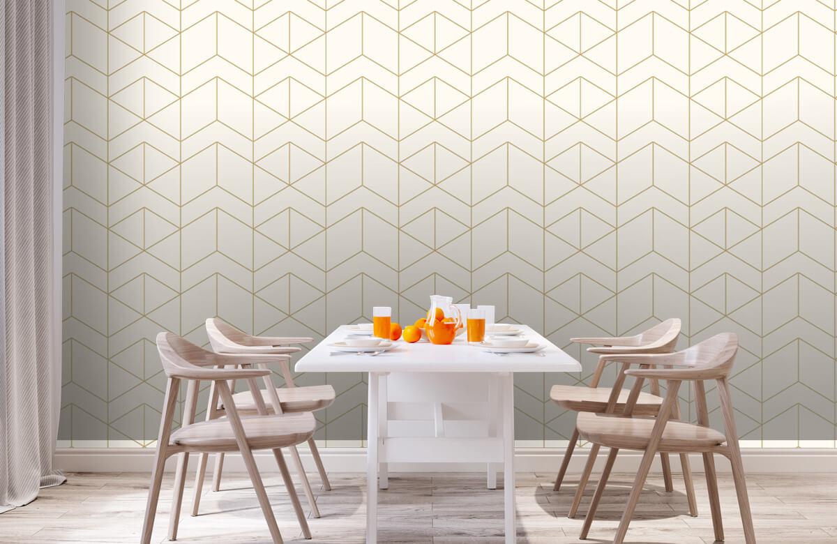 Beton, hout en steen Geometrische witte tegels 2
