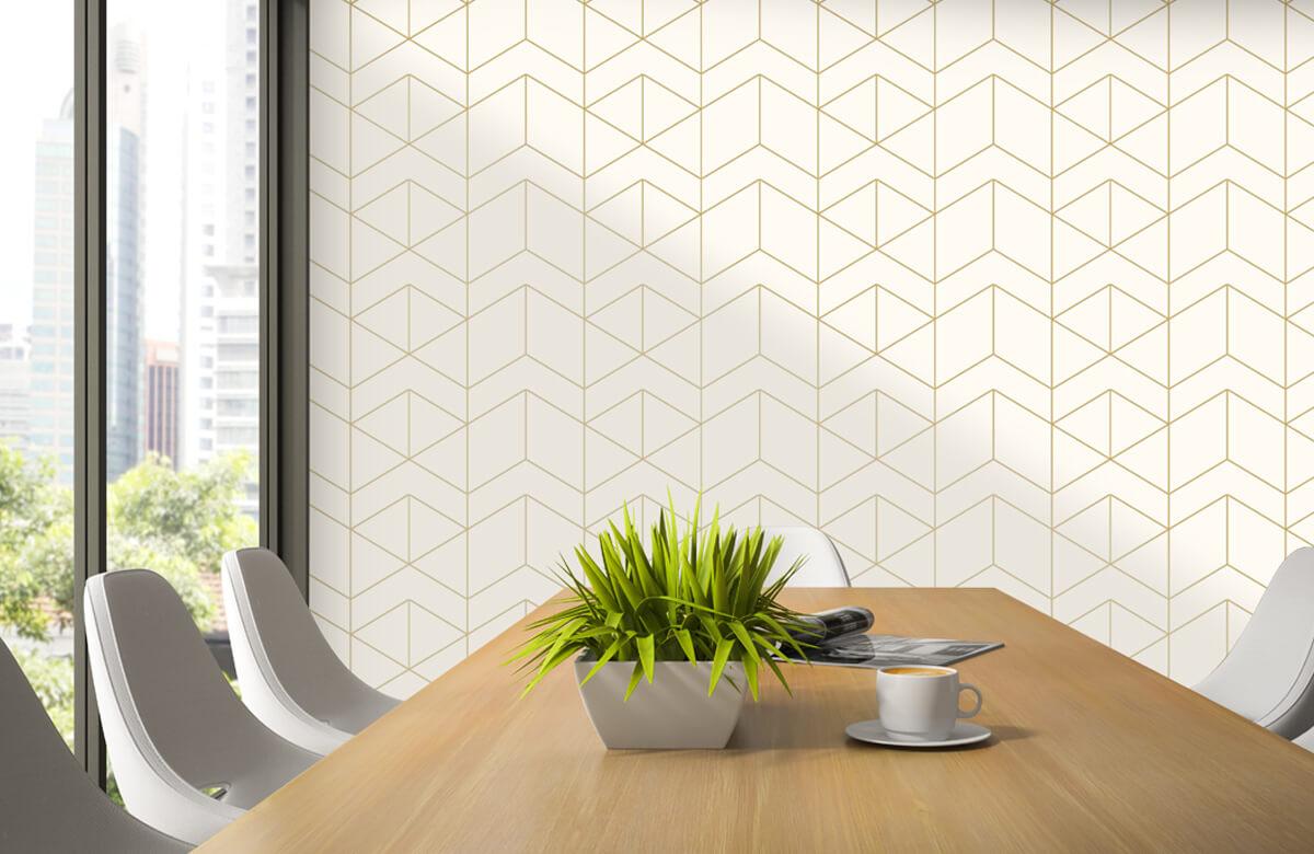 Beton, hout en steen Geometrische witte tegels 3
