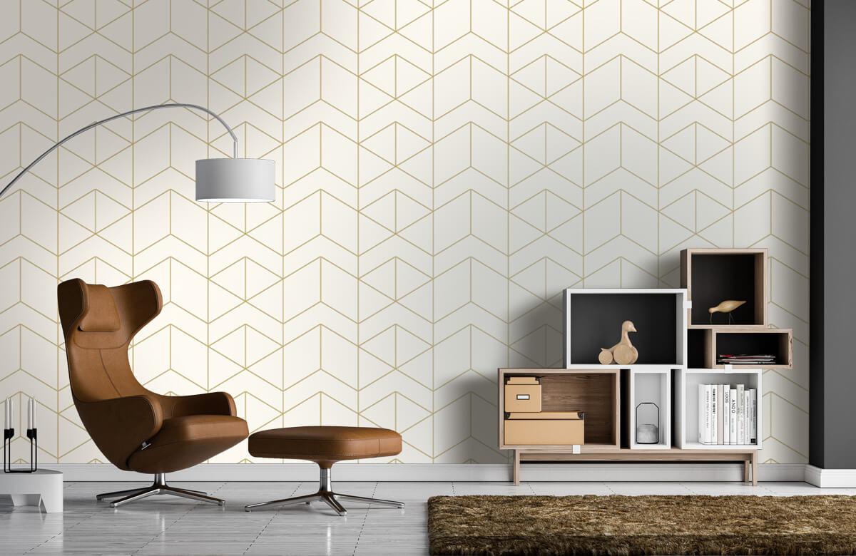 Beton, hout en steen Geometrische witte tegels 1