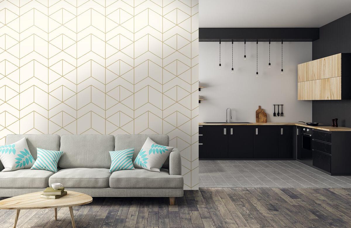 Beton, hout en steen Geometrische witte tegels 5