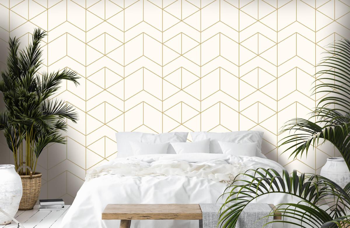 Beton, hout en steen Geometrische witte tegels 6