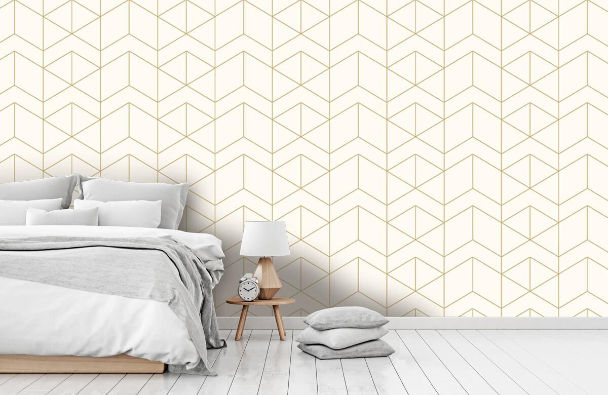 Beton, hout en steen Geometrische witte tegels 7