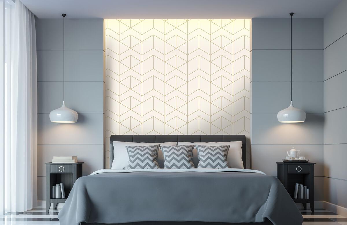 Beton, hout en steen Geometrische witte tegels 8