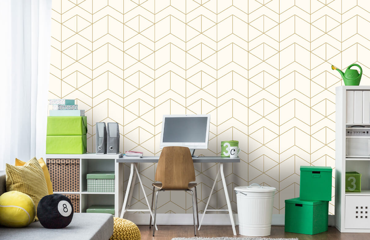 Beton, hout en steen Geometrische witte tegels 9