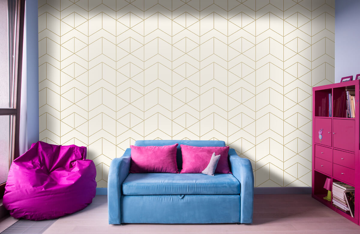 Beton, hout en steen Geometrische witte tegels 10