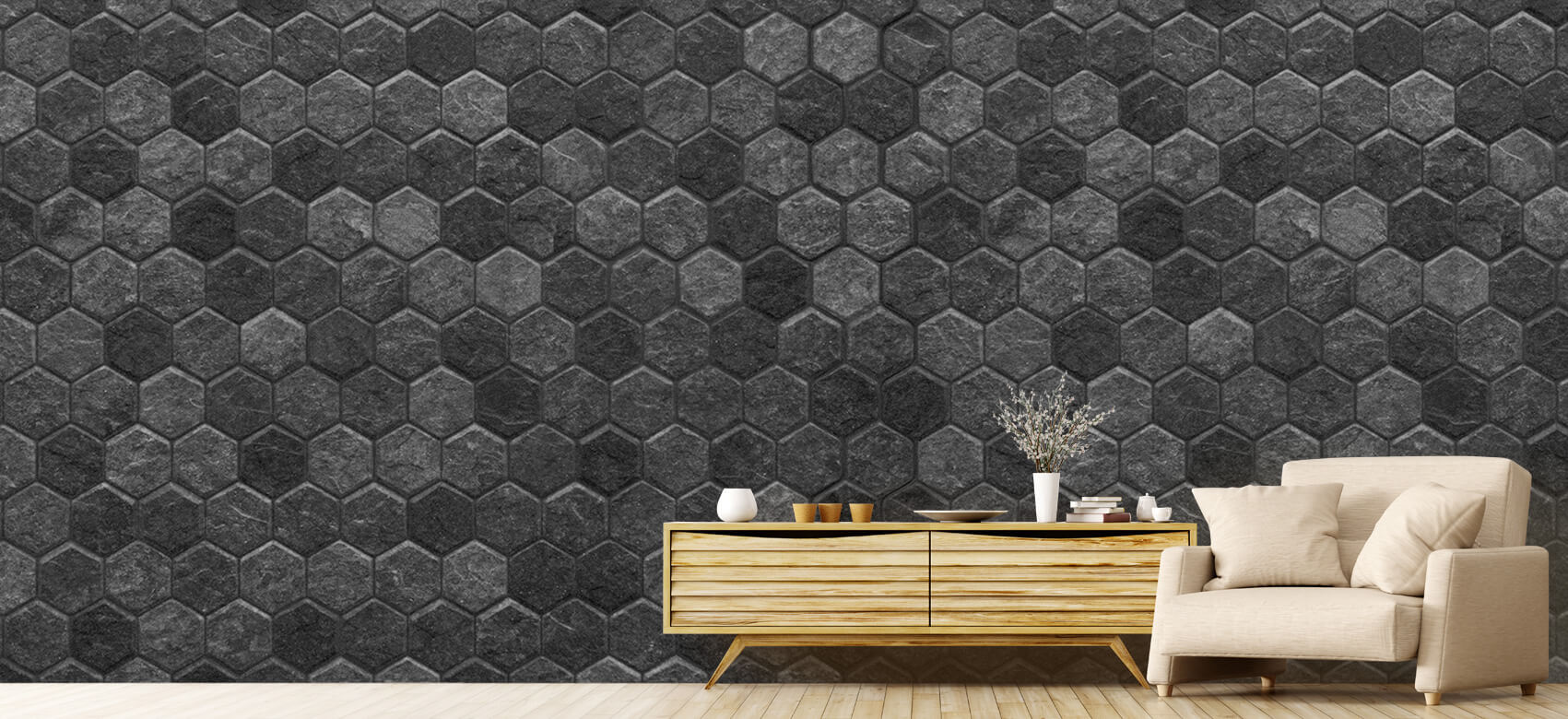Beton, hout en steen Kleine zwarte steentjes 7