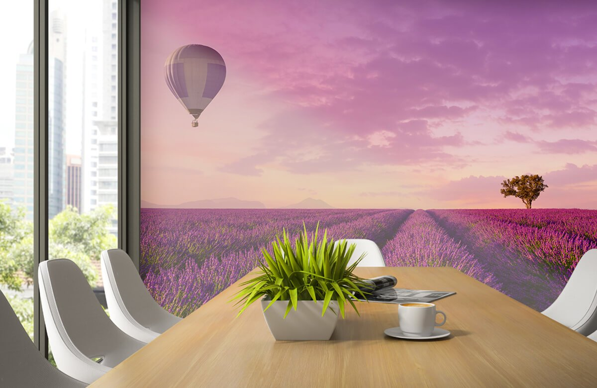 Bloemen, planten en bomen Lavendel veld en luchtballon 3