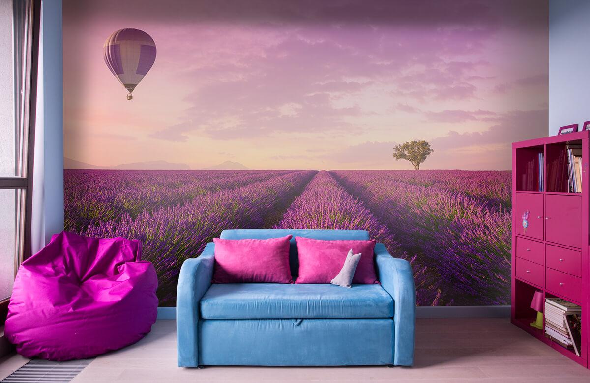 Bloemen, planten en bomen Lavendel veld en luchtballon 10