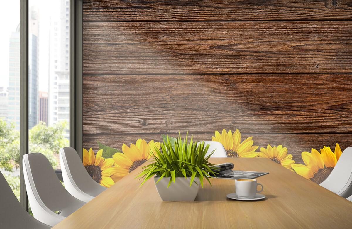Bloemen, planten en bomen Zonnebloemen op hout 3