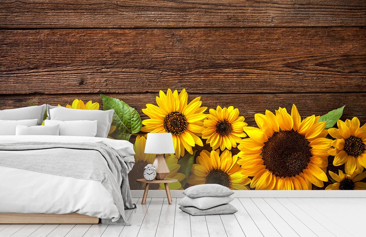 Bloemen, planten en bomen Zonnebloemen op hout 7