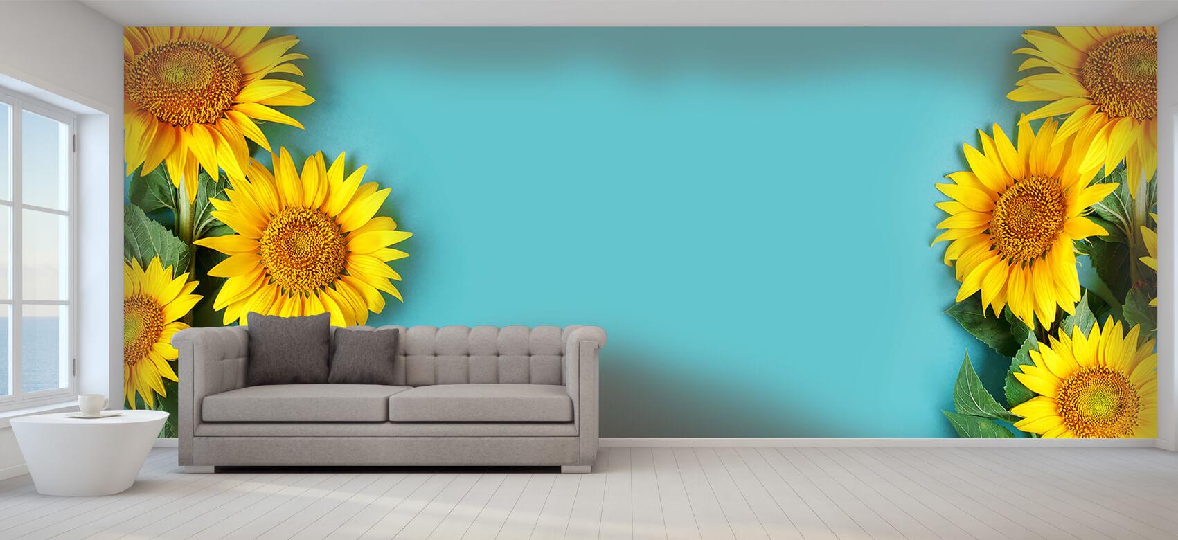 Bloemen, planten en bomen Zonnebloemen op blauwe achtergrond 9