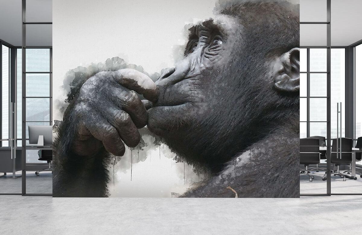 Dieren Waterverf chimpansee 4