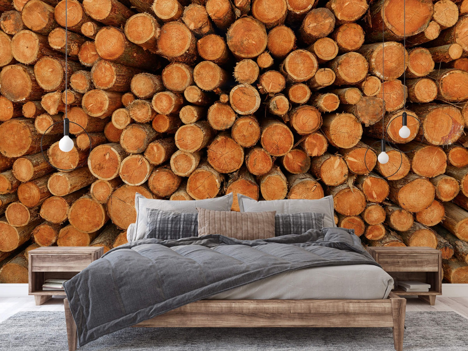 Bomen - Stapel donkere boomstammen - Slaapkamer 2