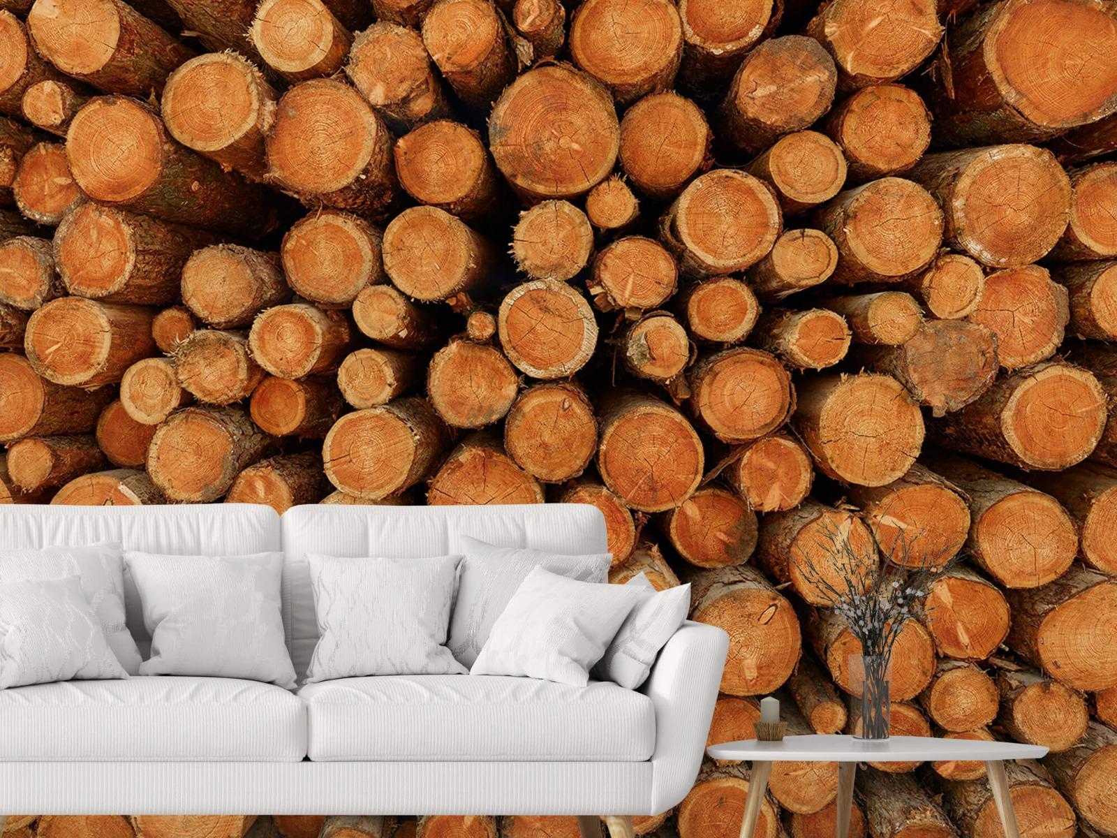Bomen - Stapel donkere boomstammen - Slaapkamer 3
