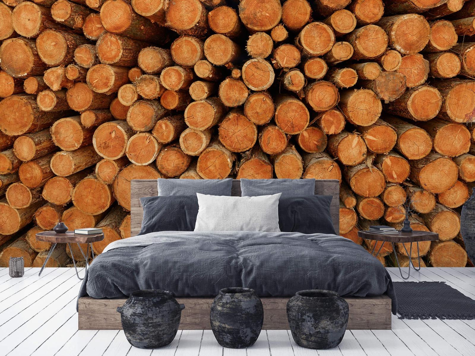 Bomen - Stapel donkere boomstammen - Slaapkamer 1