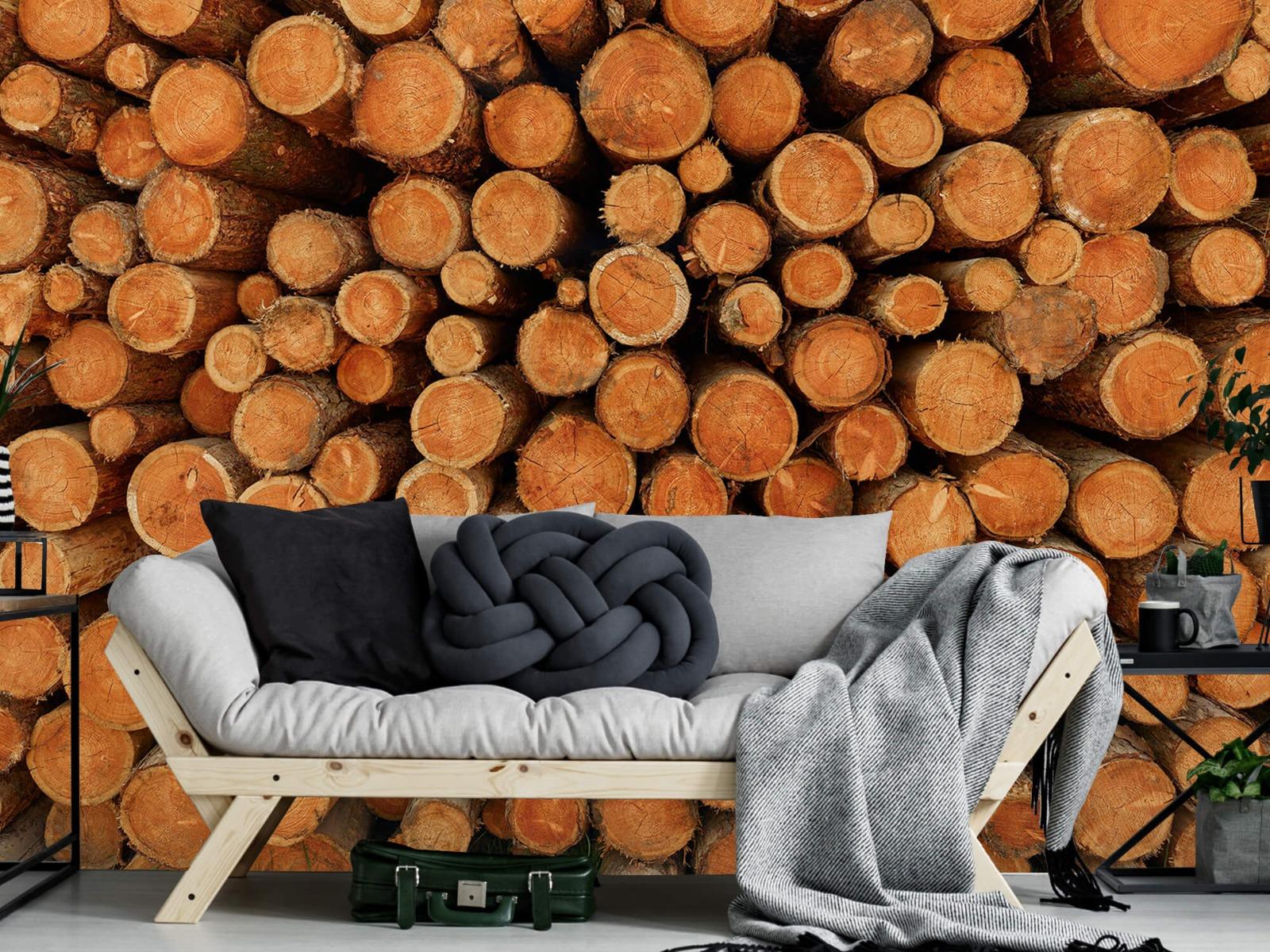 Bomen - Stapel donkere boomstammen - Slaapkamer 6