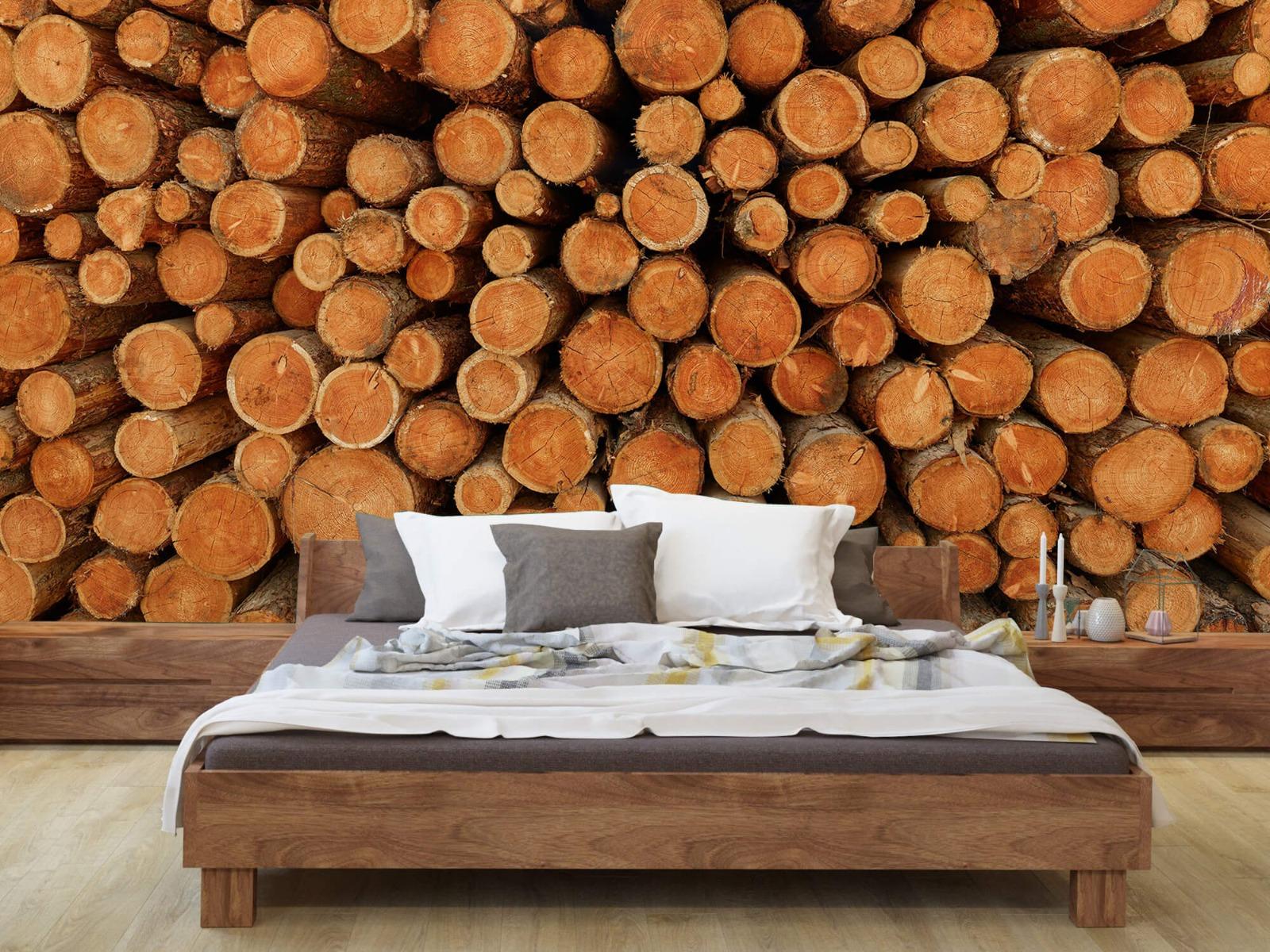 Bomen - Stapel donkere boomstammen - Slaapkamer 7