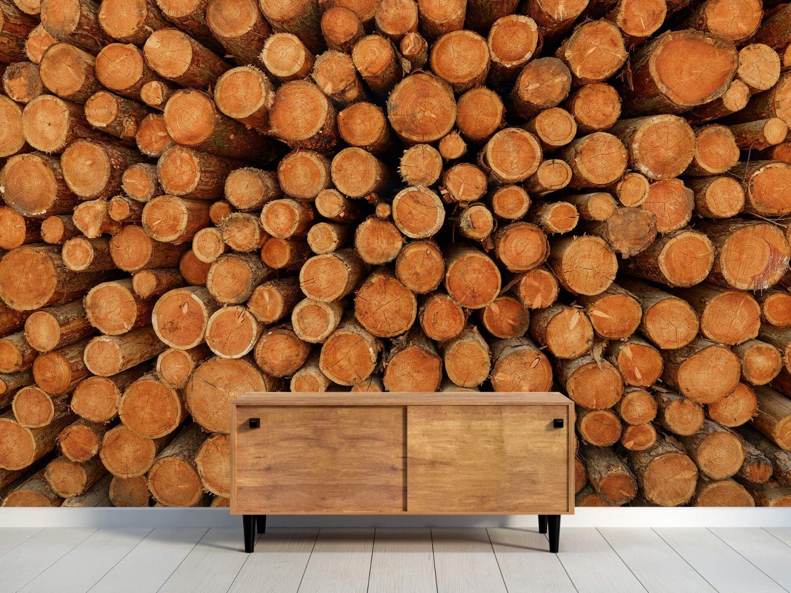 Bomen - Stapel donkere boomstammen - Slaapkamer 9