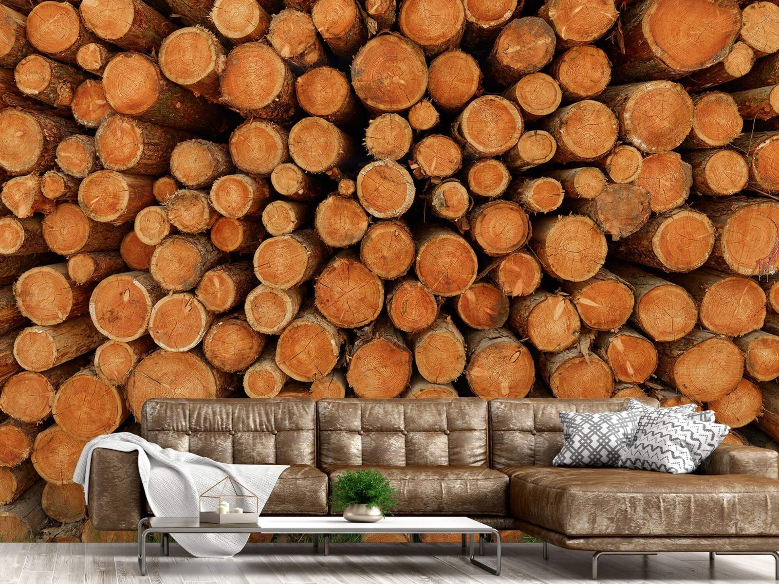Bomen - Stapel donkere boomstammen - Slaapkamer 14