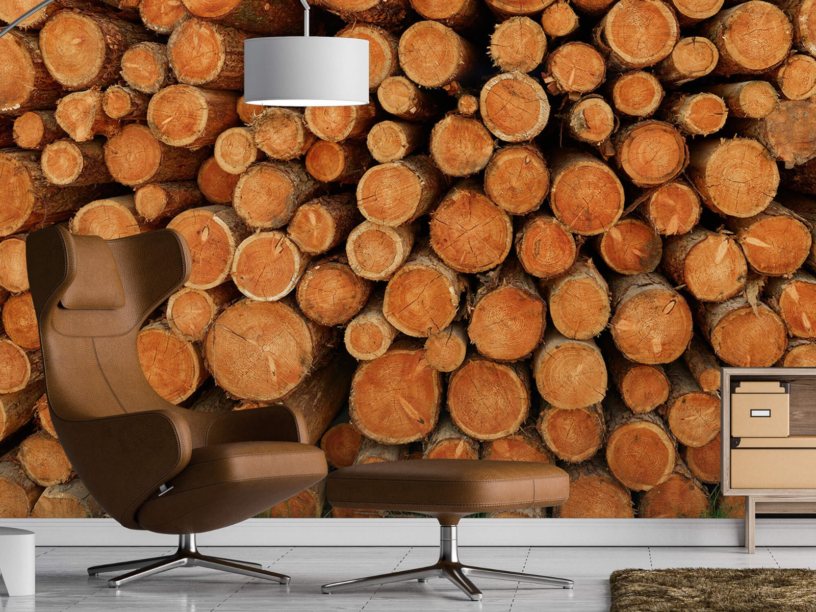 Bomen - Stapel donkere boomstammen - Slaapkamer 19