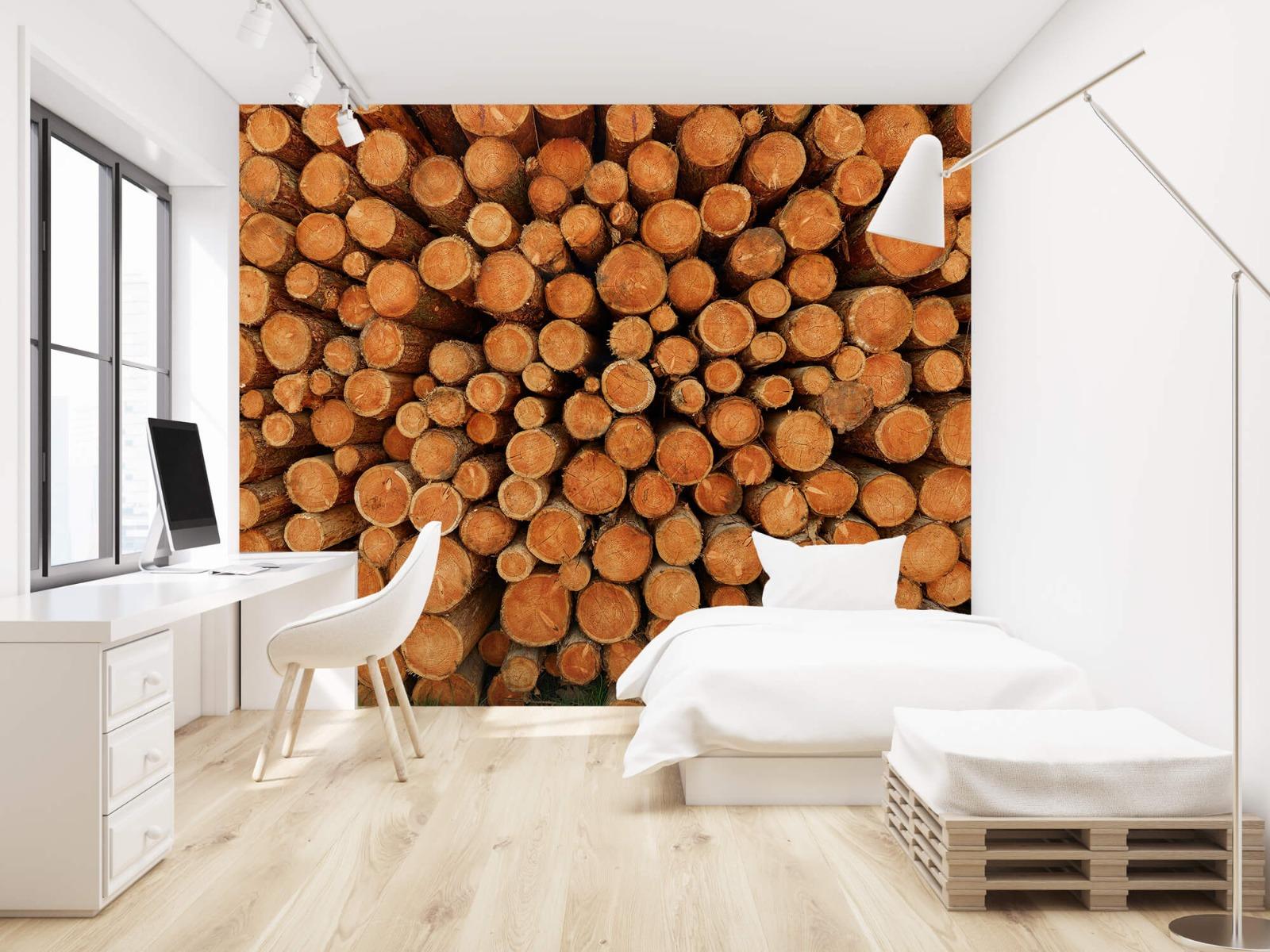Bomen - Stapel donkere boomstammen - Slaapkamer 22