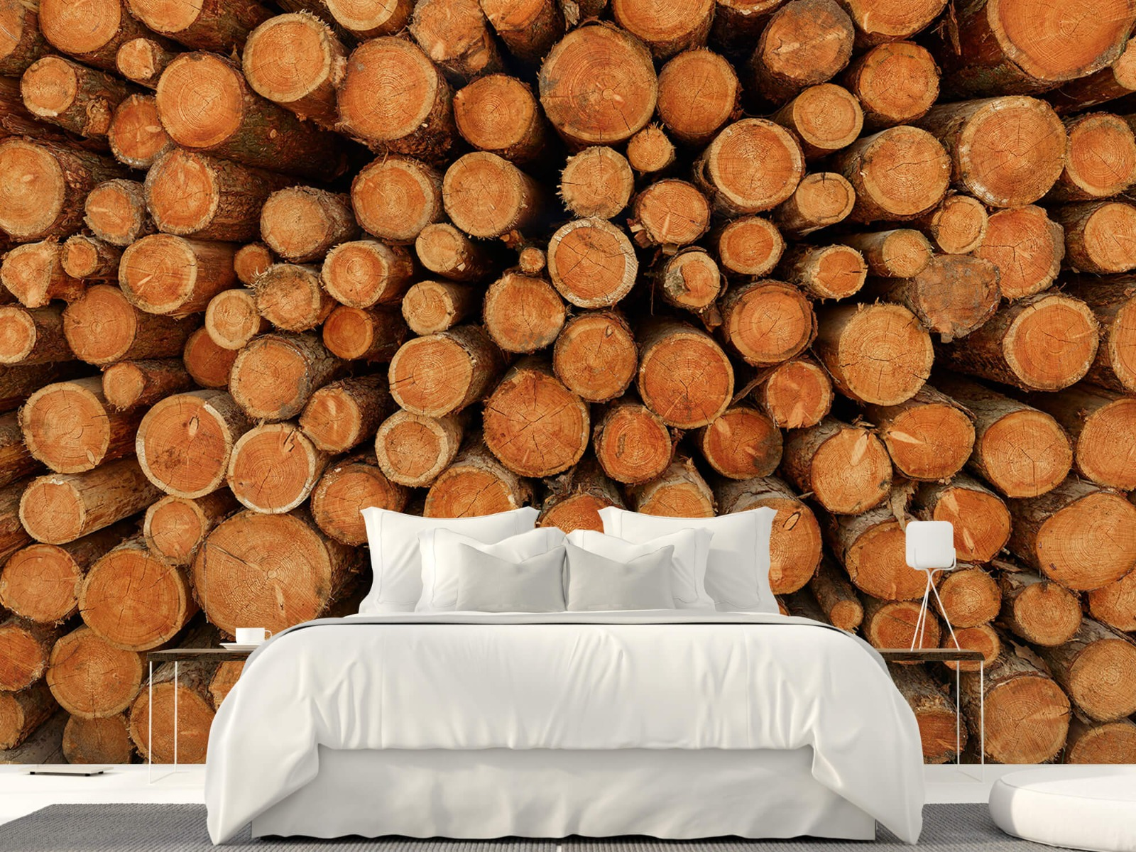 Bomen - Stapel donkere boomstammen - Slaapkamer 23