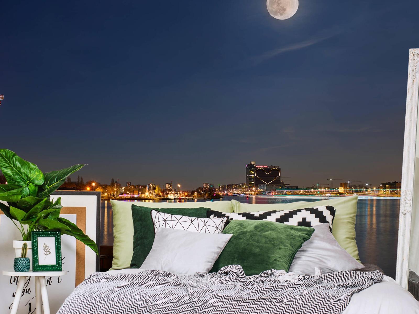 Steden behang - Supermaan in Amsterdam - Slaapkamer 12