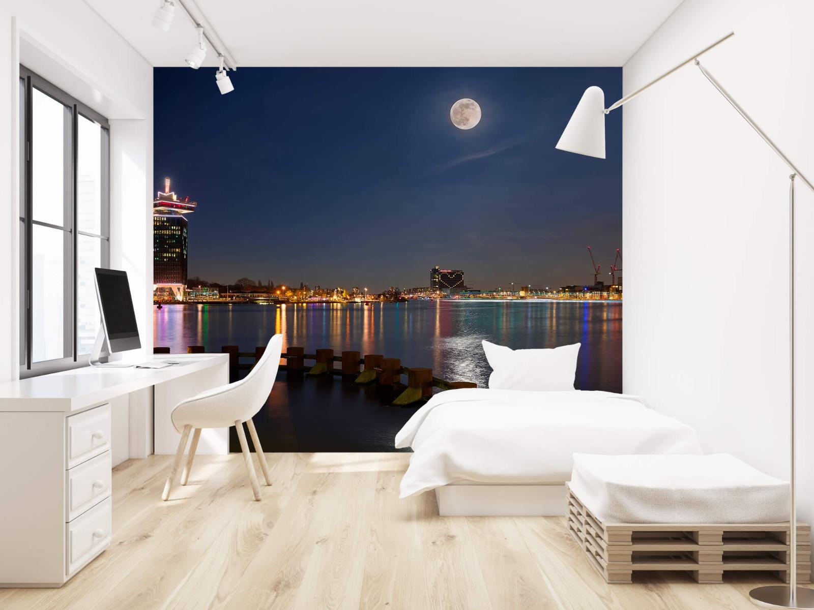 Steden behang - Supermaan in Amsterdam - Slaapkamer 22