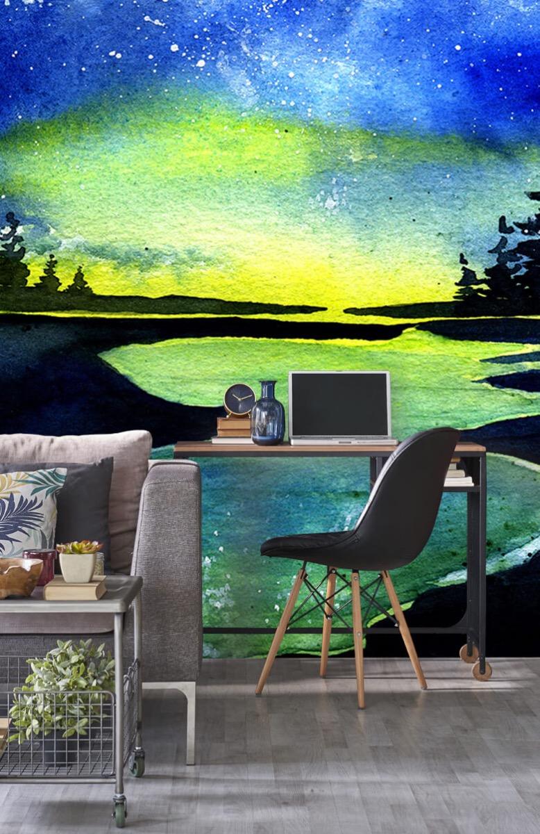 Natuur Waterverf noorderlicht over het meer 1