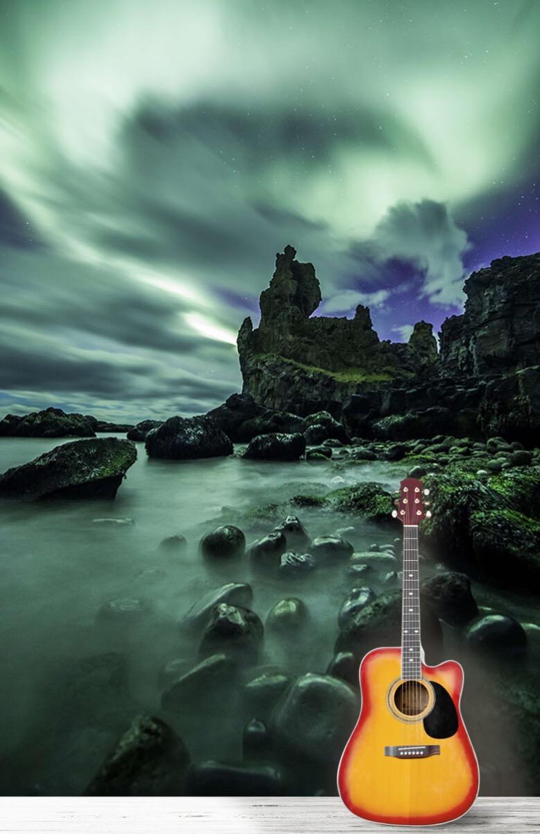 Natuur Noorderlicht boven rotsen 11