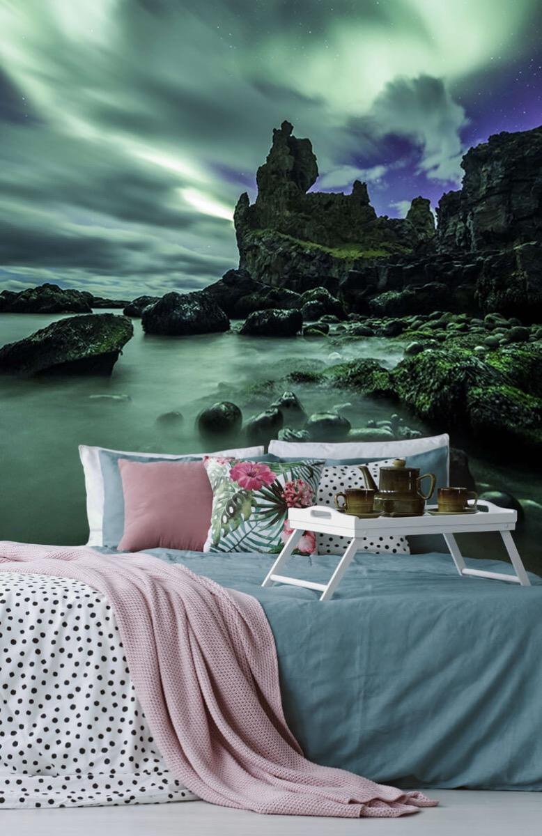Natuur Noorderlicht boven rotsen 12