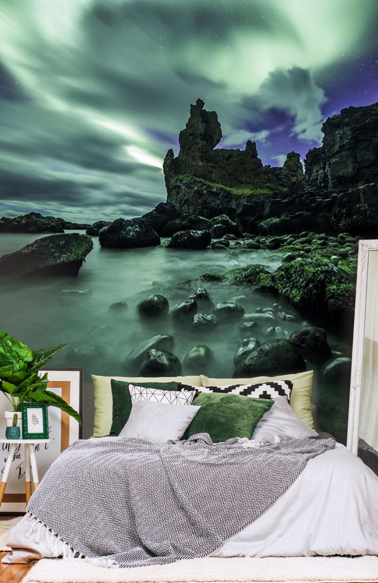 Natuur Noorderlicht boven rotsen 13