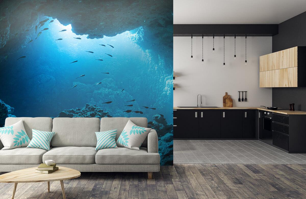 Natuur Onderwater grot met vissen 5