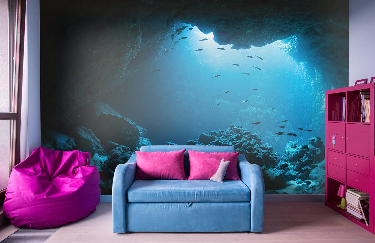 Natuur Onderwater grot met vissen 10