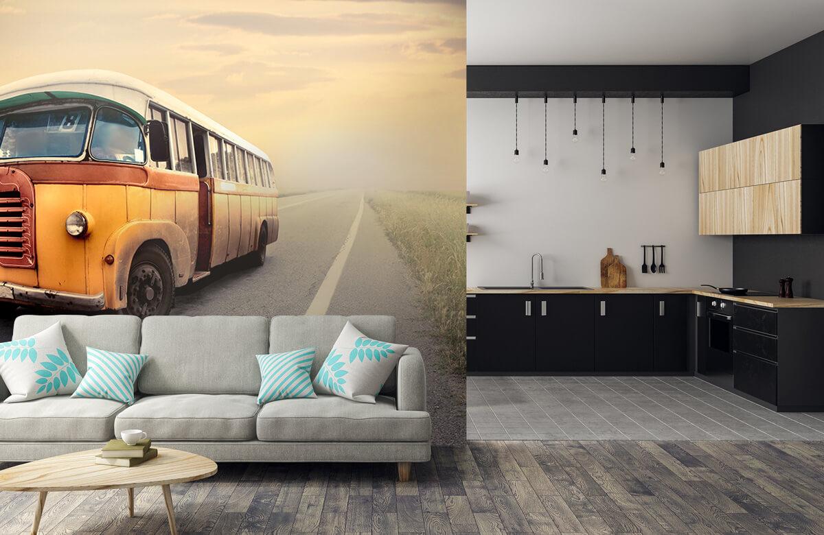 Transport Bus op een verlaten weg 6