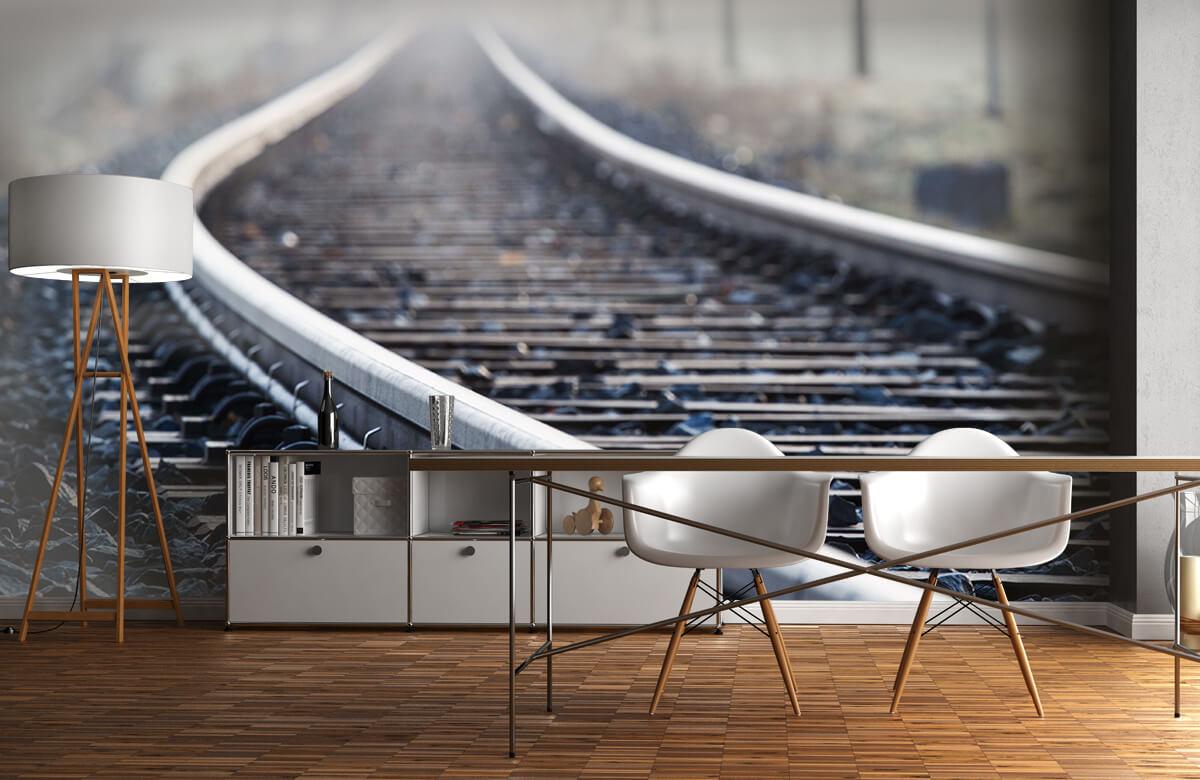 Transport Treinspoor in de ochtendnevel 11