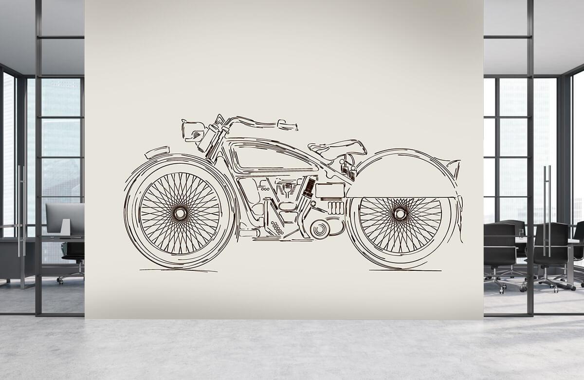 Transport Getekende vintage motor 4