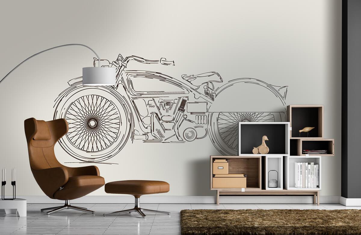 Transport Getekende vintage motor 1