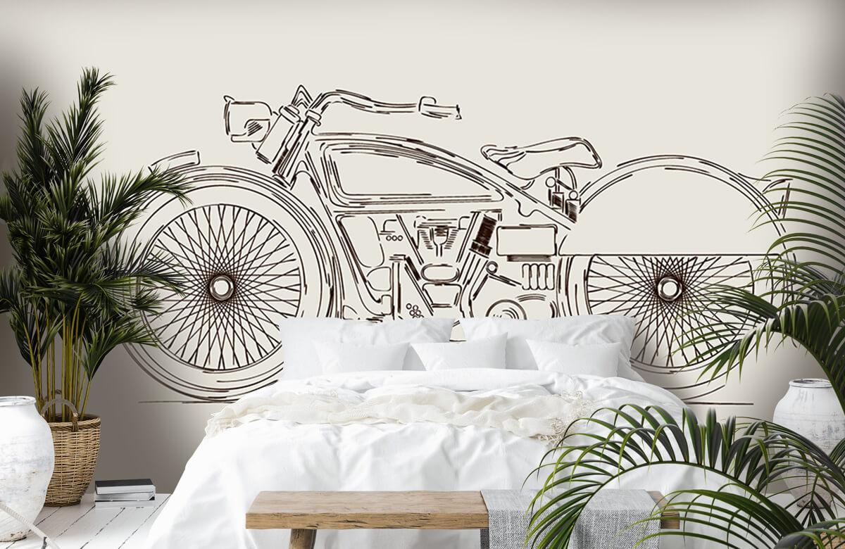 Transport Getekende vintage motor 6