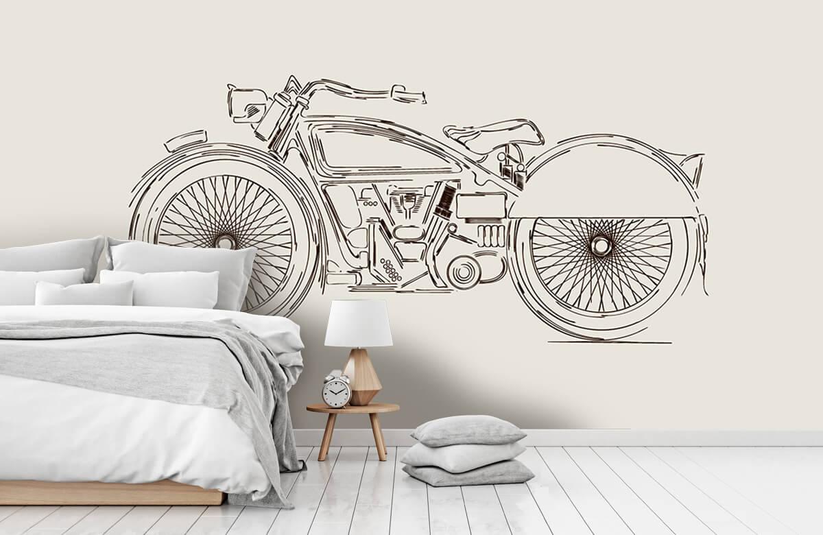 Transport Getekende vintage motor 7