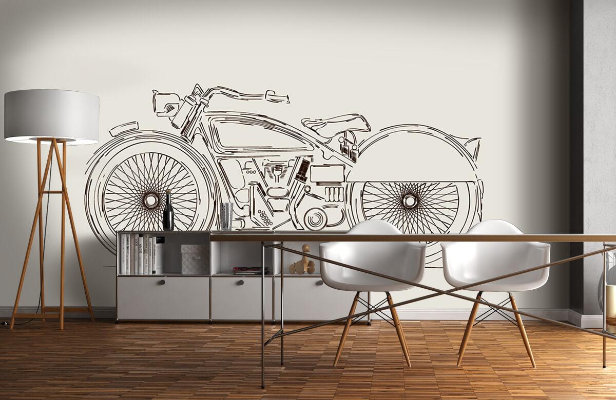 Transport Getekende vintage motor 11