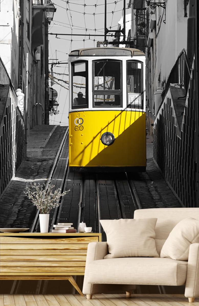 Transport Tram zwart wit geel 2
