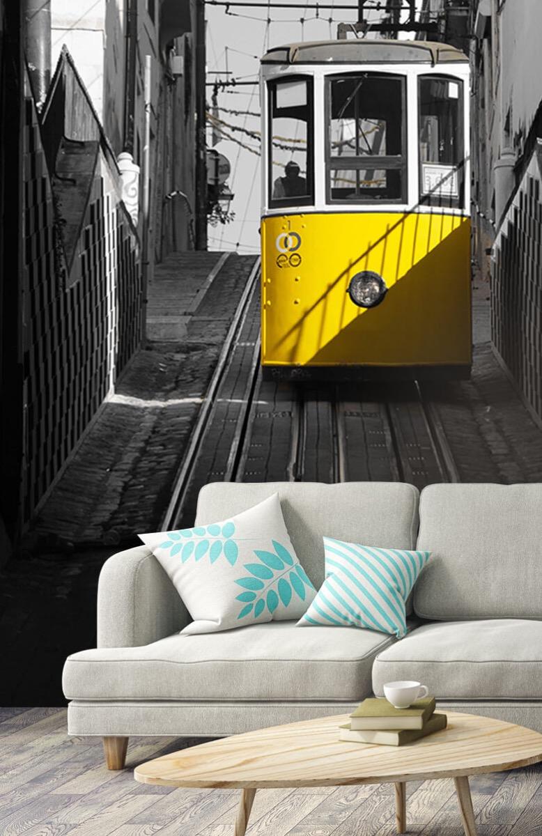 Transport Tram zwart wit geel 3