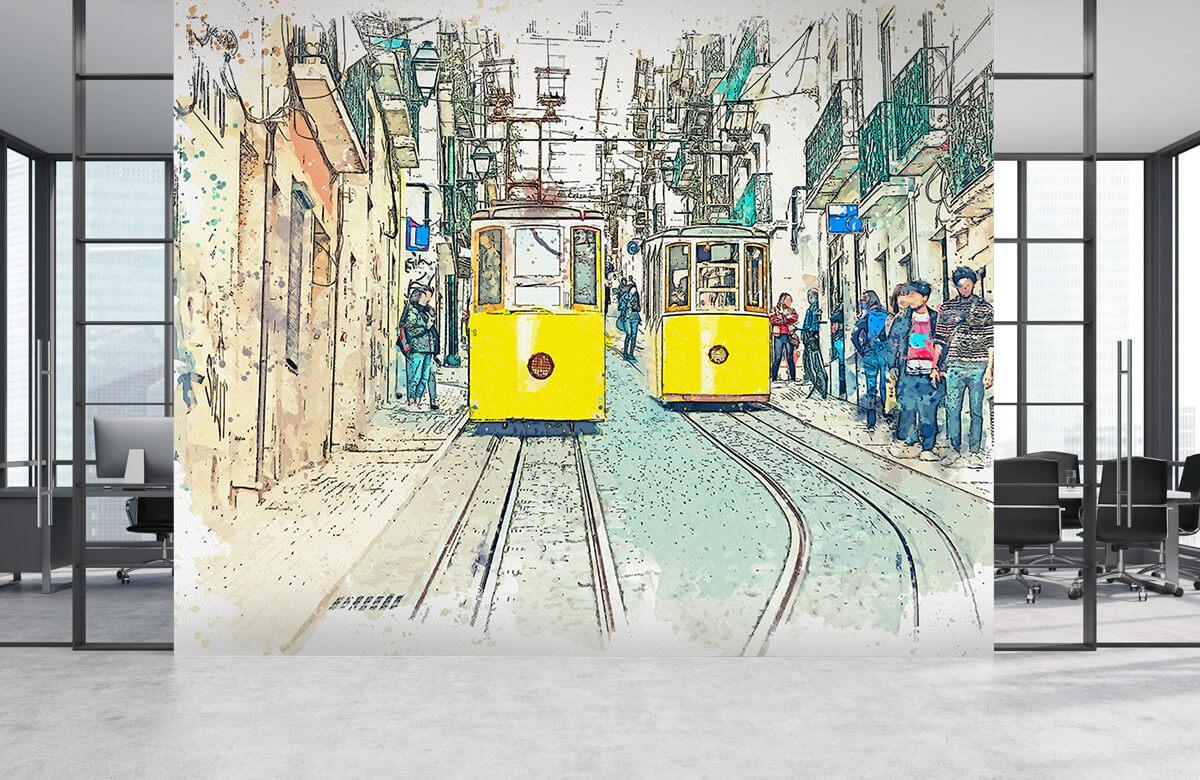 Transport Trams in waterverf 3