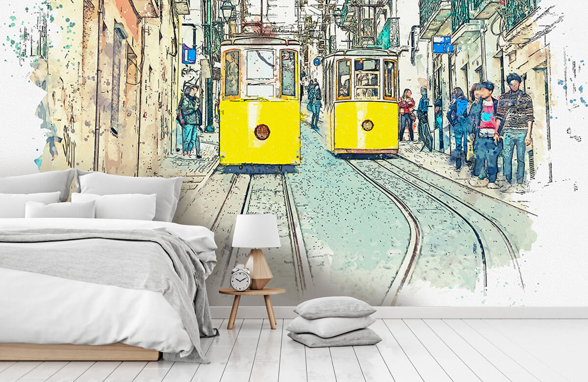 Transport Trams in waterverf 7