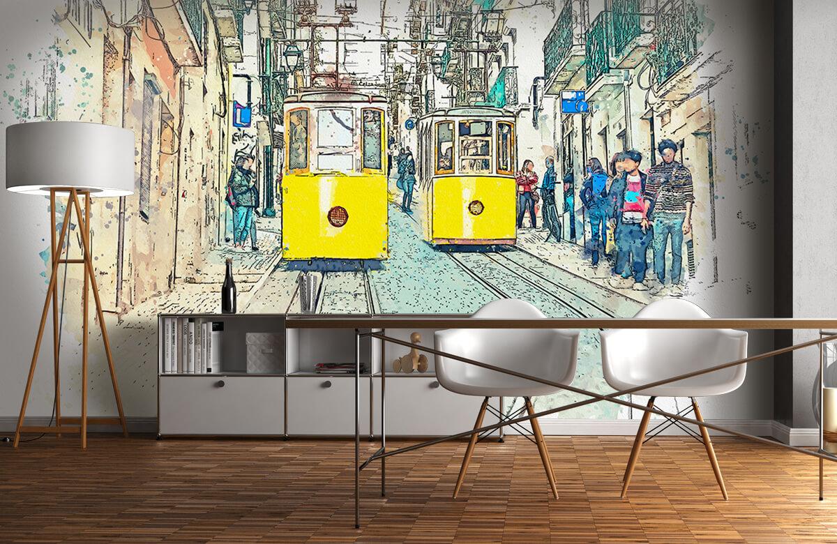 Transport Trams in waterverf 11