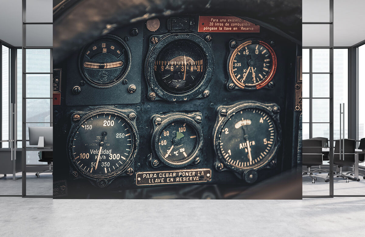 Transport Vintage vliegtuigcockpit detail 1