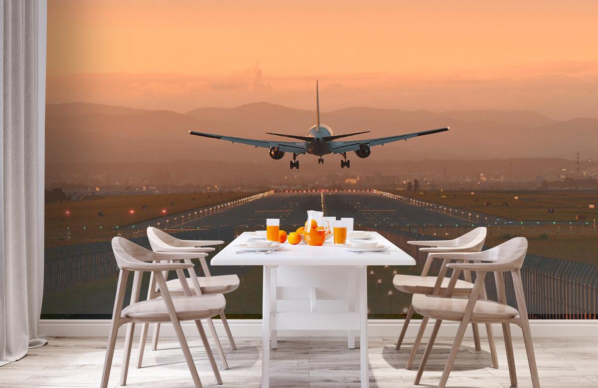 Transport Landend vliegtuig in de avondzon 2